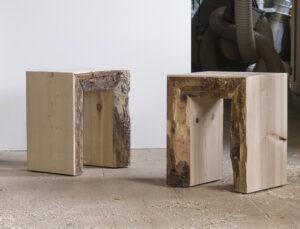 rustikaler Holzhocker Birchizand